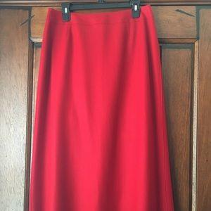 Red Full Length Wool Skirt
